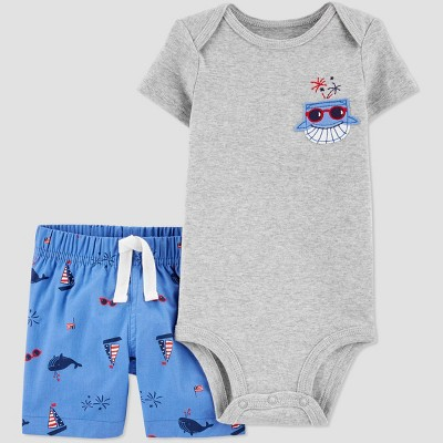 Baby Boys' 2pc 4th of July Blue Whale Top and Bottom Set - Just One You® made by carter's Gray/Blue 3M