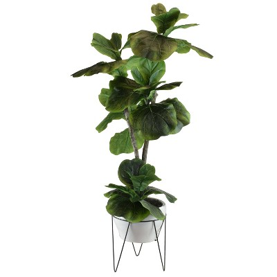 "44"" x 20"" Artificial Fig Plant in Mid Century Plant Stand Green - LCG Florals"