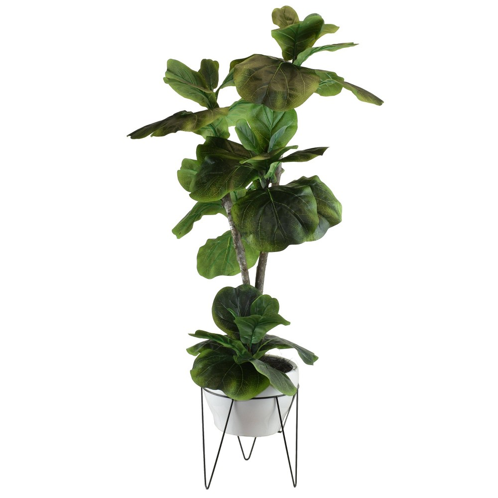 "Image of ""44"""" x 20"""" Artificial Fig Plant in Mid Century Plant Stand Green - LCG Florals"""