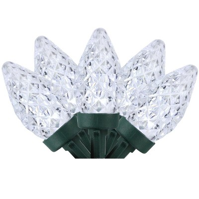 Northlight 100ct Faceted LED C7 Christmas Lights Pure White - 66' Green Wire