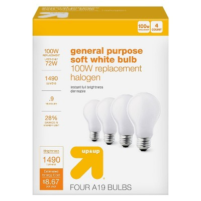 Light Bulb Halogen General Purpose - Soft White - 4PK - 100W - Up&Up™