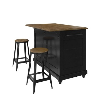 2 Stools and 2 Drawers Mona Kitchen Island with Black - Room and Joy