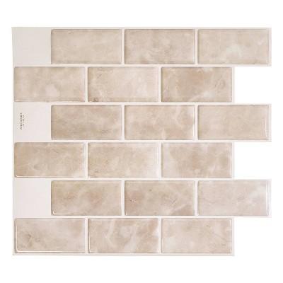 "Smart Tiles 3D Peel and Stick Backsplash 4 Sheets of 10.95"" x 9.70"" Kitchen and Bathroom Wallpaper Subway Sora"