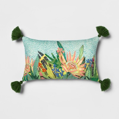 Embroidered Floral Lumbar Throw Pillow - Opalhouse™