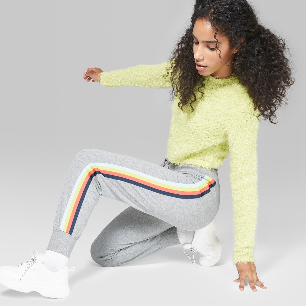 Women's Striped Rainbow Placed Stripe Jogger - Wild Fable Gray Xxl