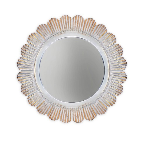 """20"""" x 20"""" Round Decorative Mirror with Scalloped Edge Gold/White - New View - image 1 of 3"""