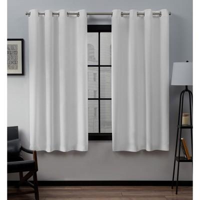 Loha Linen Grommet Top Window Curtain Panel Pair Winter White 52x63 - Exclusive Home