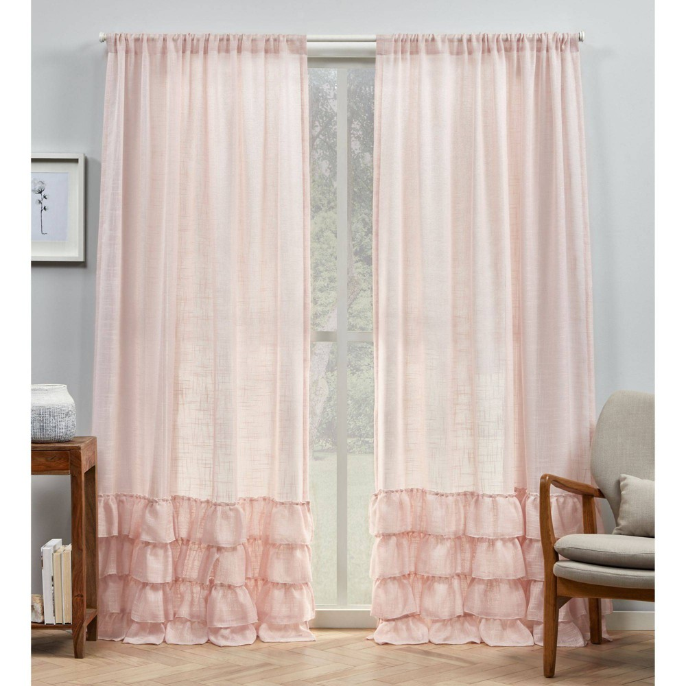 "Set of 2 96""x54"" Jacinta Bottom Ruffle Sheer Rod Pocket Curtain Panel Blush - Exclusive Home"