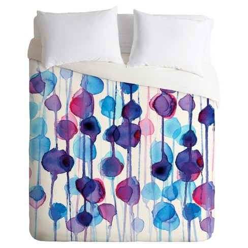 Blue Cmykaren Abstract Watercolor Duvet Cover Set (Twin) - Deny Designs - image 1 of 4