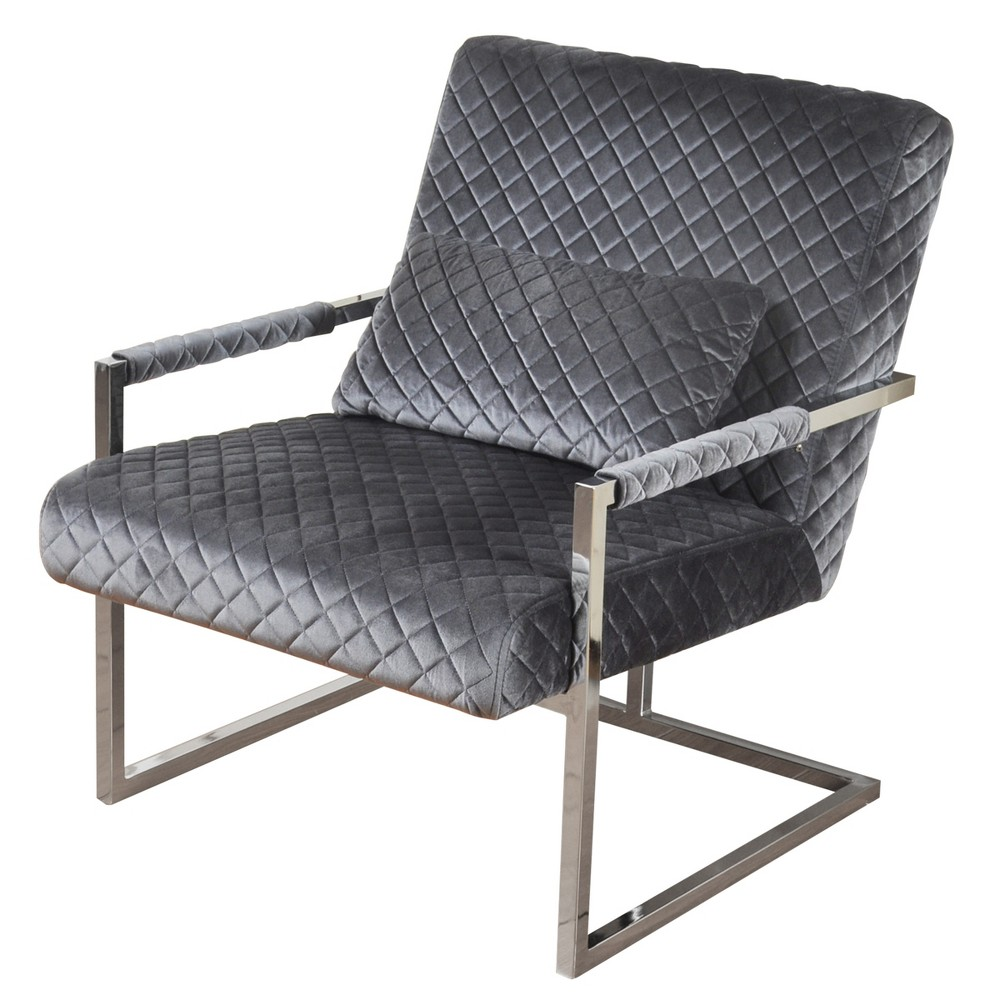 Cantilever Diamond Quilted Velvet Lounge Chair Gray - Stylecraft