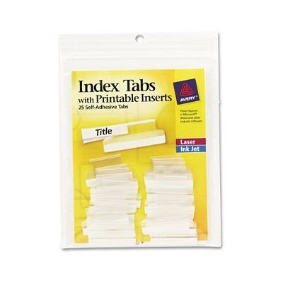 photograph relating to Avery Printable Tabs referred to as Avery® Self-Adhesive Tabs with White Printable Inserts, Just one Inch, Very clear Tab, 25/Pack