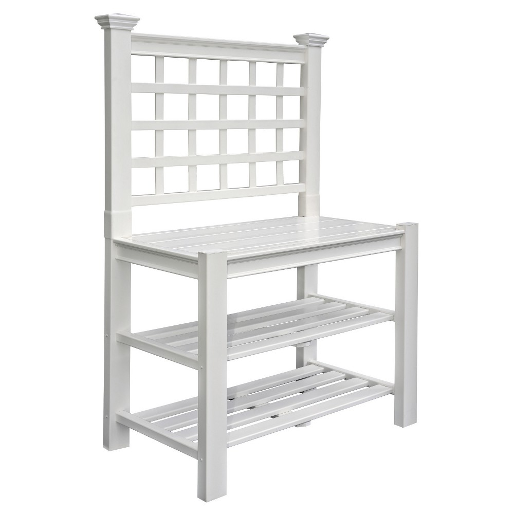 Image of Burbank Potting Bench - White - New England Arbors