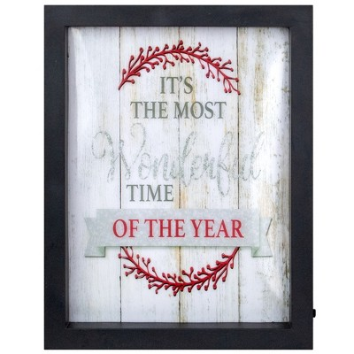 "Northlight 9"" Black Framed ""Its The Most Wonderful Time Of The Year"" LED Christmas Wall Art"