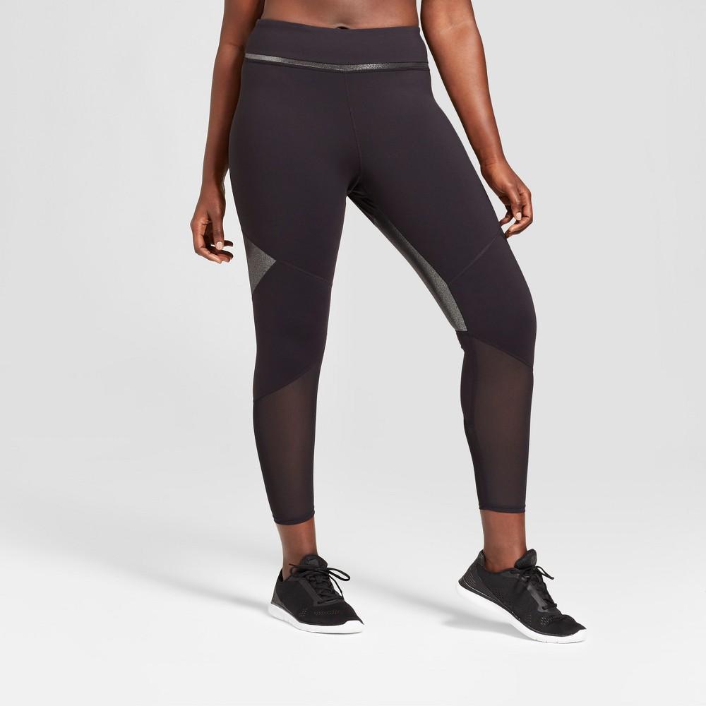 Women's Plus Size Mesh Shine Pieced Mid-Rise Leggings - JoyLab Black 4X