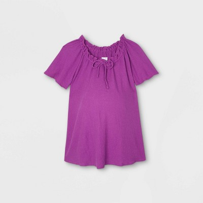 Maternity Short Sleeve Smocked Knit Top - Isabel Maternity by Ingrid & Isabel™
