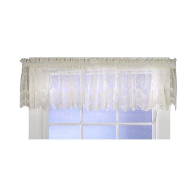 """Commonwealth Habitat Mona Lisa Jacquard Scalloped Lace Tailored Valance - 56""""x""""15 in Shell Color"""