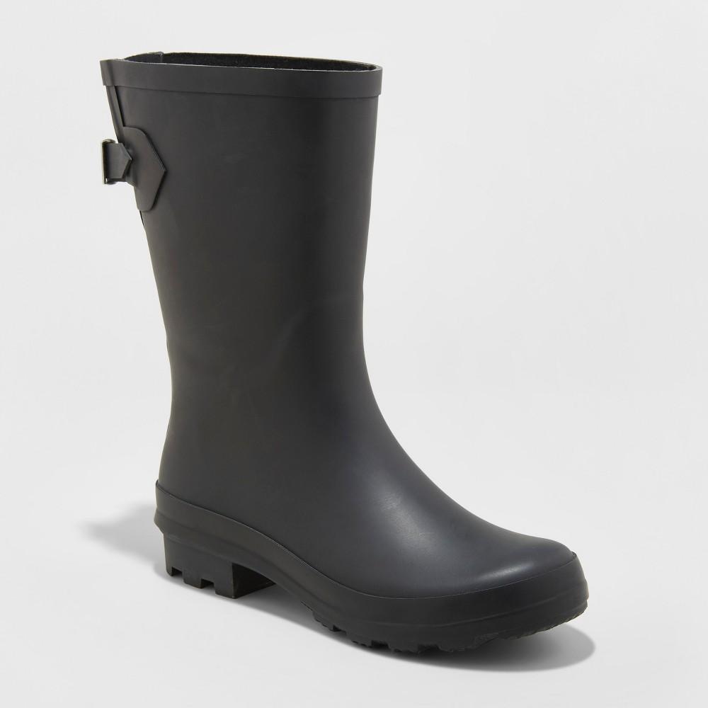 Women's Vicki Mid Calf Rain Boots - A New Day Black 11
