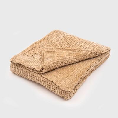 "50""x60"" Shiny Waffle Chenille Knit Throw Blanket Tan - Evergrace"