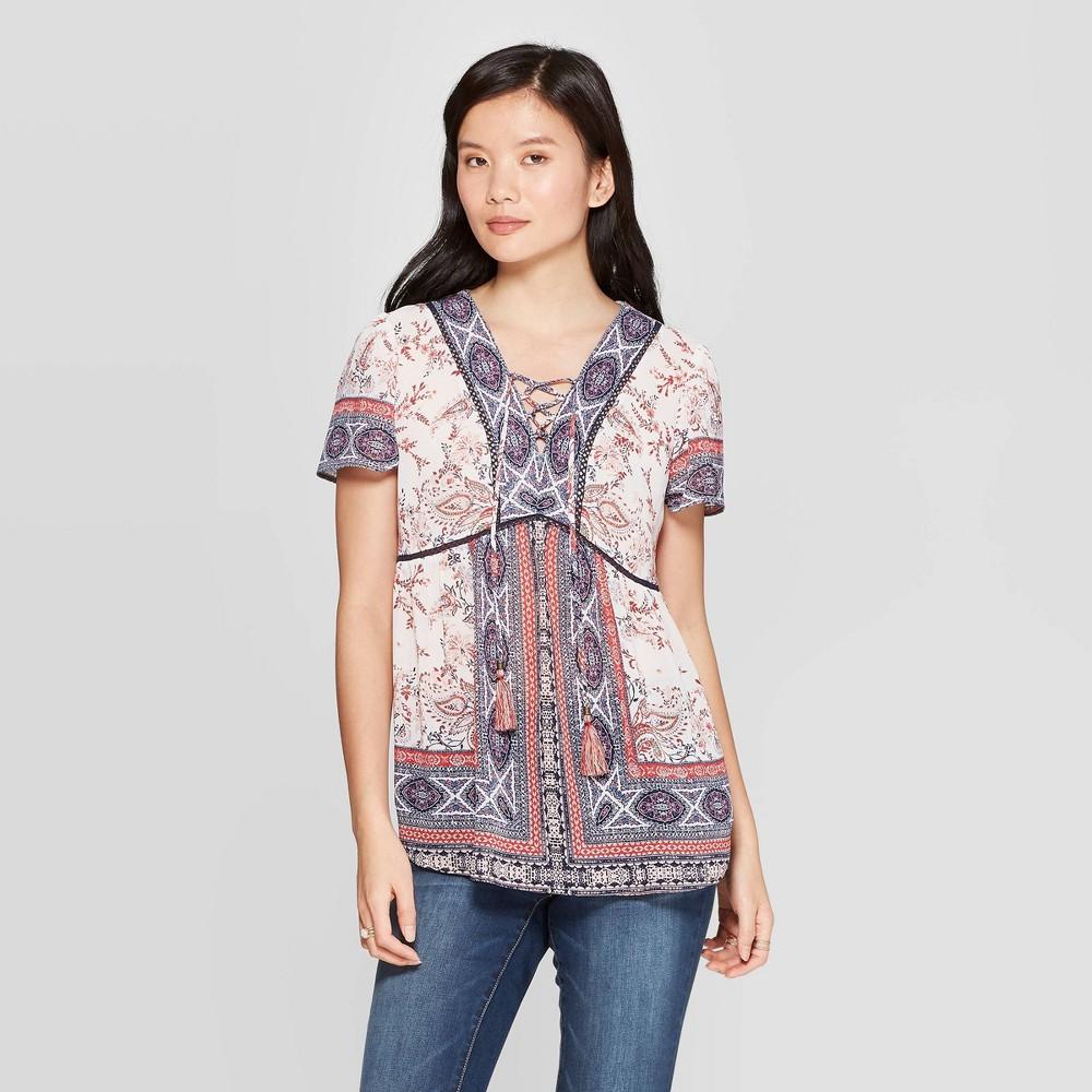 Women's Printed Short Sleeve V-Neck Blouse - Knox Rose White XL