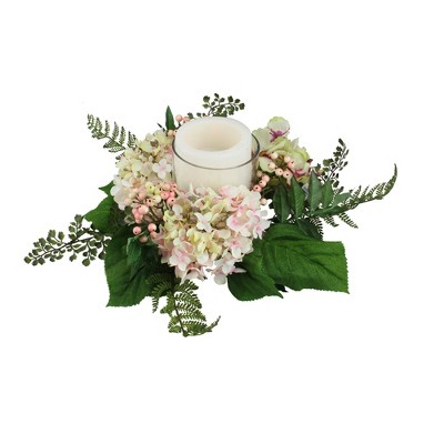 """Northlight 16"""" Decorative Artificial Pink and Green Hydrangea and Berry Hurricane Glass Candle Holder"""