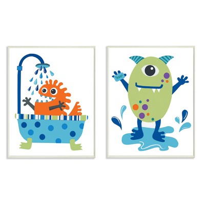 "Monsters Bathroom Buddies 2pc Wall Plaque Art Set (10""x15""x0.5"") - Stupell Industries"