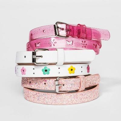 Girls' 3pk Flower Chunky Glitter Belt - Cat & Jack™ Pink/Purple/White M