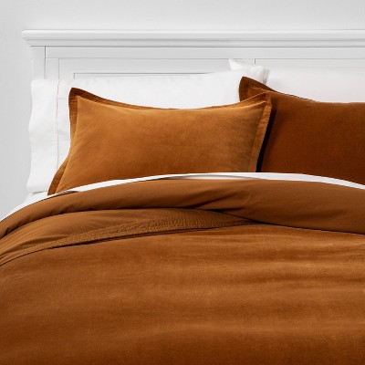 Full/Queen Solid Velvet Duvet Cover & Sham Set Caramel - Threshold™