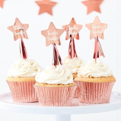 """""""Twinkle Twinkle"""" Cupcake Toppers Party Accessories Rose Gold"""