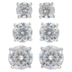Women's Sterling Silver Stud Earrings Set of 3 Post Round Cubic Zirconia - Silver/Clear