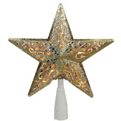 "Northlight 8.5"" Gold Glitter Star Christmas Tree Topper - Clear Lights"