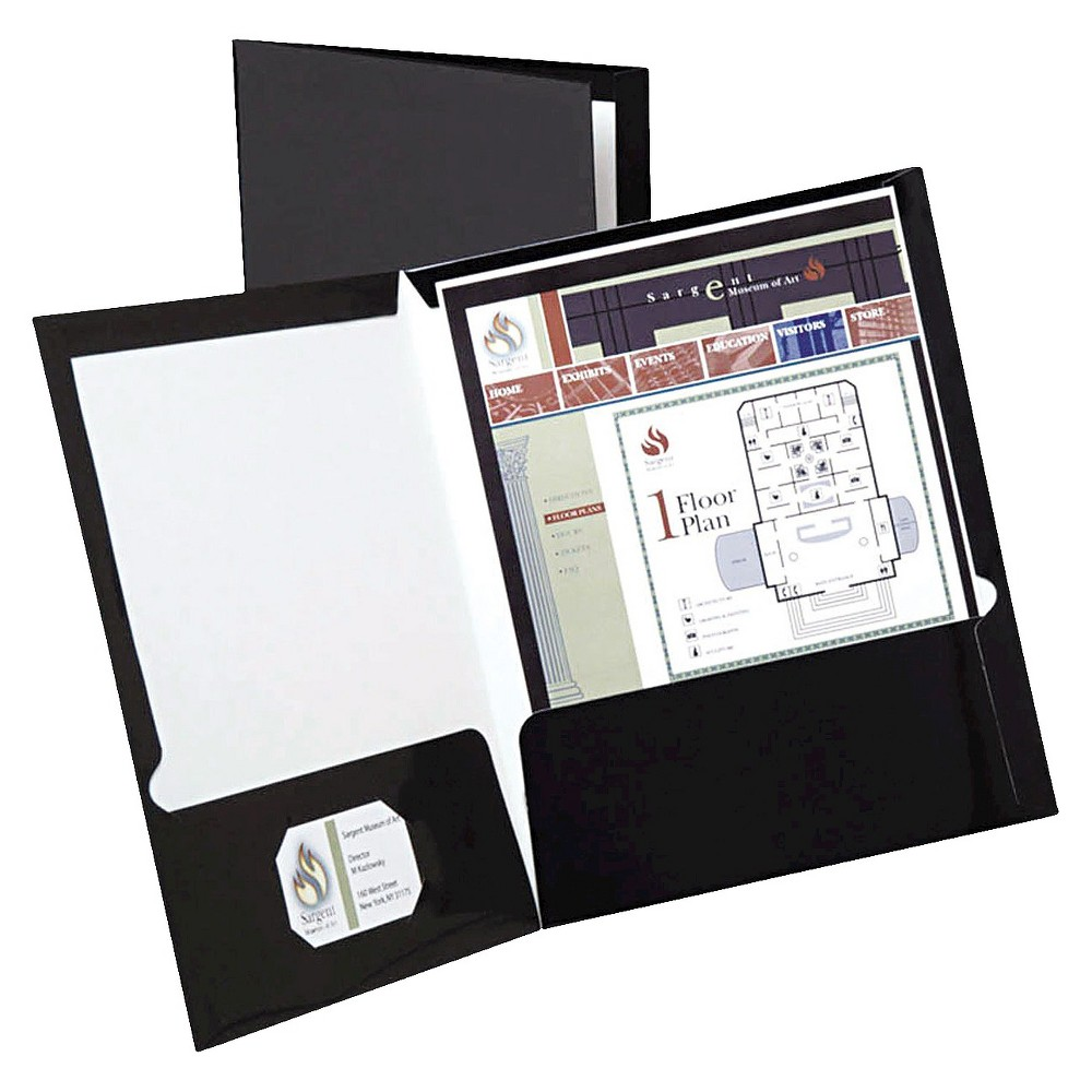 Oxford 100 Sheet Capacity High Gloss Laminated Paperboard Paper Folder - Black (25 Per Box)