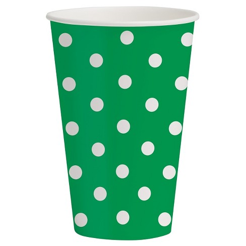 10ct White & Green Polka Dot Paper Cups - Spritz™ - image 1 of 1