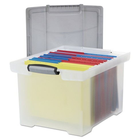 Storex® Portable File Tote with Locking Handle Storage Box, Letter/Legal,  Clear