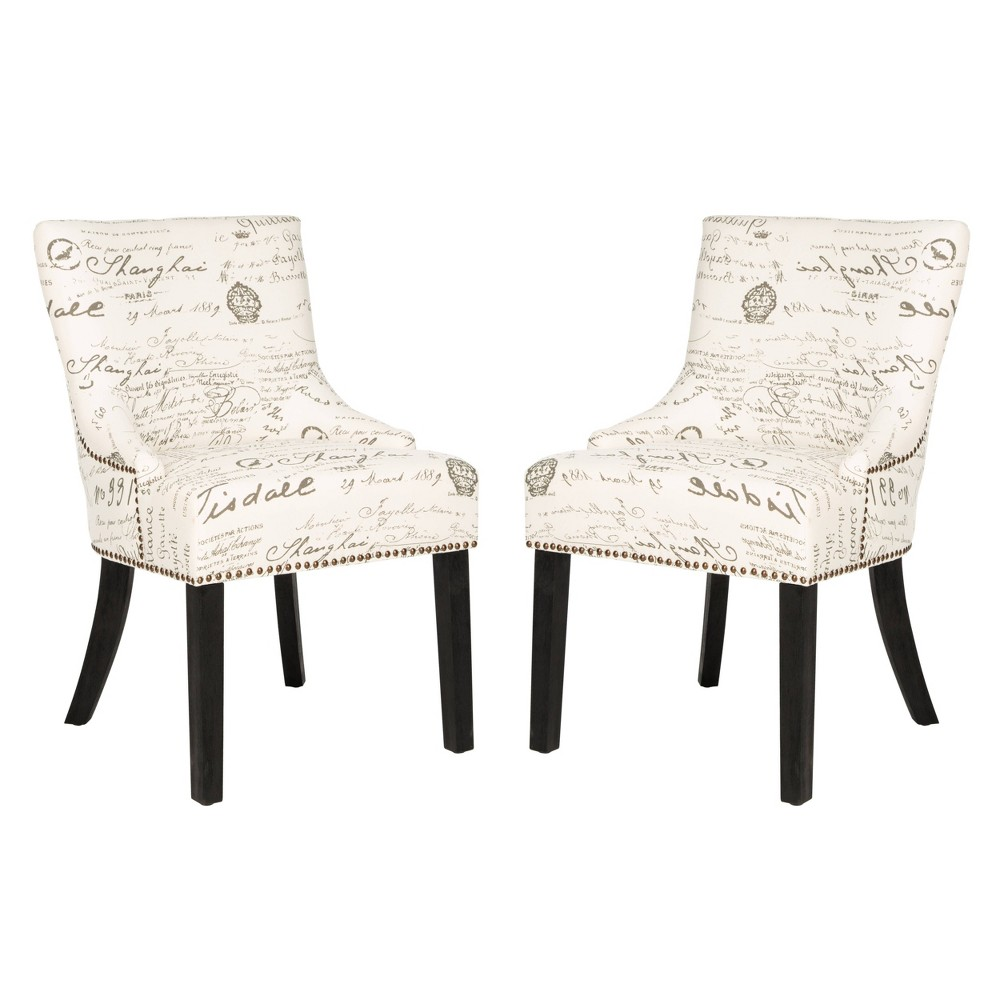 Lotus Side Chair Wood/White/Gray (Set of 2) - Safavieh