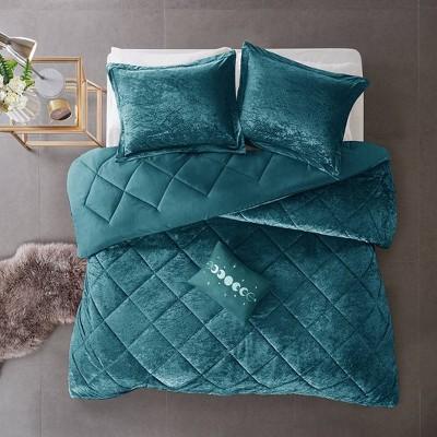 4pc King/California King Alyssa Velvet Comforter Set - Teal