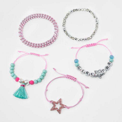 Girls' 5pk Girl Power Mixed Bracelet Set - Cat & Jack™ - image 1 of 1