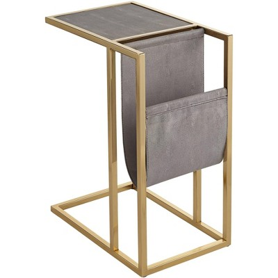 """55 Downing Street Kingsroad 19"""" Wide Gold and Gray Accent Table with Magazine Holder"""