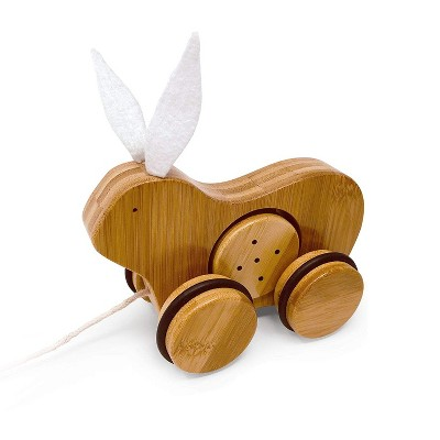 Kinderfeets 3616 Kids Rolling Bamboo Push and Pull Animal Toy for Toddlers and Children with Pull String, Rabbit