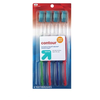Contour Toothbrush - 4ct - up & up™ (Compared to Oral-B Indicator Contour Clean)