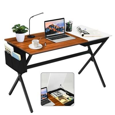 Costway Computer Desk Writing Study Laptop Table w/ Drawer & Storage Bag Walnut\Black