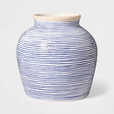 """7.1"""" x 7"""" Stoneware Striped Vase Blue/White - Threshold™"""