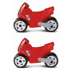 Step2 Toddler Child Manually Operated Motorcycle Ride On Kid Toy, Red (2 Pack)