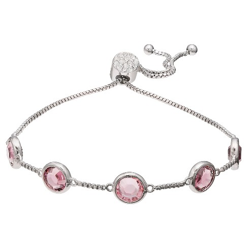2fb80c2c4 Adjustable Bracelet with Round Crystals from Swarovski in Silver Plate -  Pink/Gray (9.5