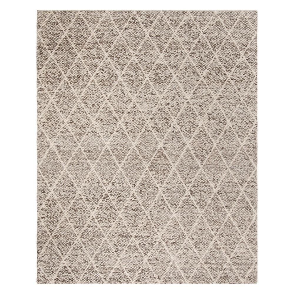 8'X10' Diamond Woven Area Rug Ivory/Stone (Ivory/Grey) - Safavieh