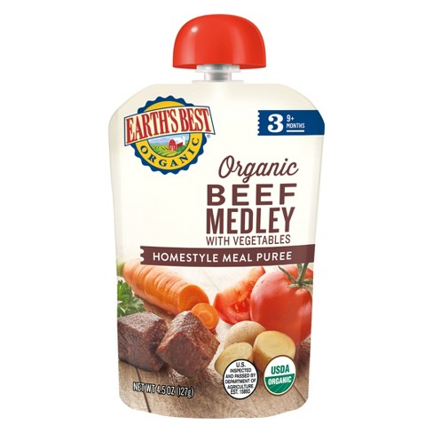 Earth's Best Organic Stage 3 Homestyle Beef Medley with Vegetables Puree 4.5oz - image 1 of 1
