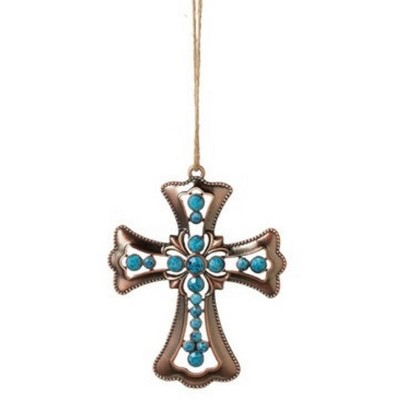 """Ganz 3.75"""" Tone Beaded Cross with Faceted Stones Christmas Ornament - Bronze/Blue"""