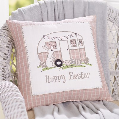 Lakeside Hoppy Easter Camper Embroidered Throw Pillow - Holiday Home Accent