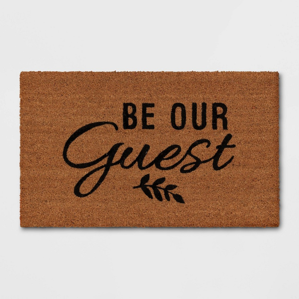 "Cheap 1'6""x2'6"" Be Our Guest Doormat Black - Threshold™"