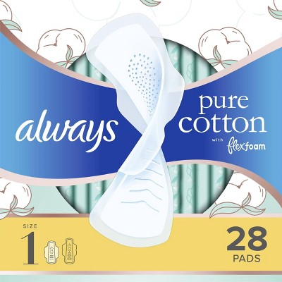 Always Pure Cotton with Wings Size 1 Regular Unscented - 28ct