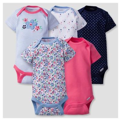 Baby Girls' 5 Pack Onesies® Bodysuits Butterfly - Gerber® Blue Multi NB